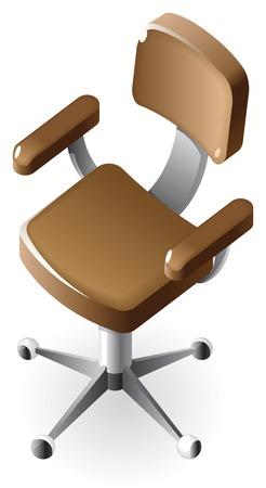 leather chair: Poltrona direzionale di cuoio marrone.