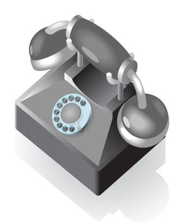 vintage telefoon: Pictogram van vintage telefoon.