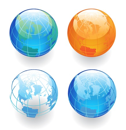 Globes in various colors.  illustration. Vector