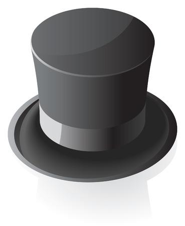 top black hat: Black top hat. illustration. Illustration