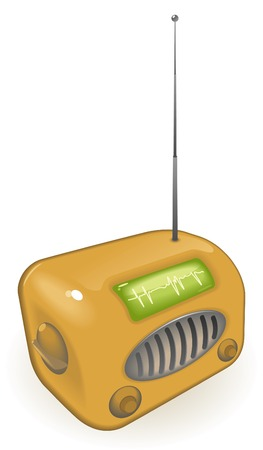 Old-fashioned radio with antenna.  illustration. Stock Vector - 6634080