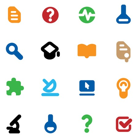 Set of icons for science and education. illustration. Vector