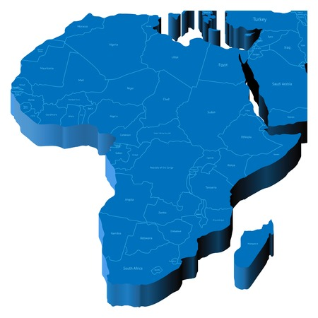Map of Africa with national borders and country names.  Vector