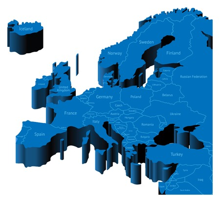 kingdom of spain: Map of Europe with national borders and country names. Pseudo-3d  illustration.