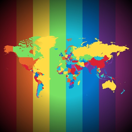 Multicolored map of the World on striped background.  illustration. Stock Vector - 6634079
