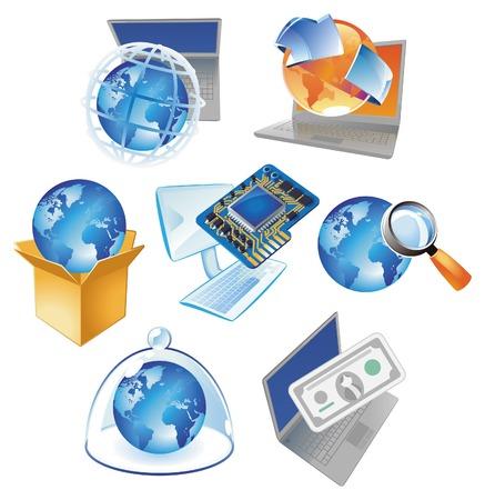communicatie: Concepten voor computer technologie, IT-oplossingen en wereldwijde business. Vector illustratie.  Stock Illustratie