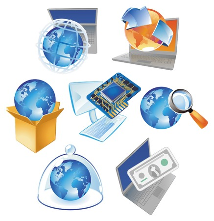通訊: Concepts for computer technology, IT solutions and worldwide business. Vector illustration.