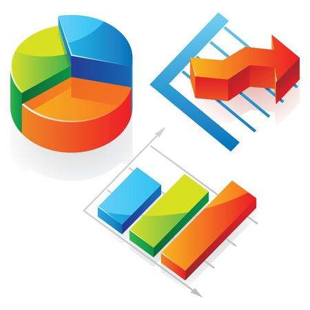 diagrama circular: Gr�ficos de negocios de diversos tipo. Ilustraci�n vectorial.