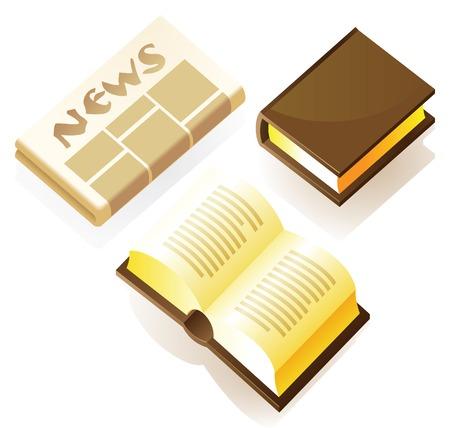 marca libros: Impresi�n de medios de comunicaci�n: libros y peri�dicos. Ilustraci�n vectorial.  Vectores