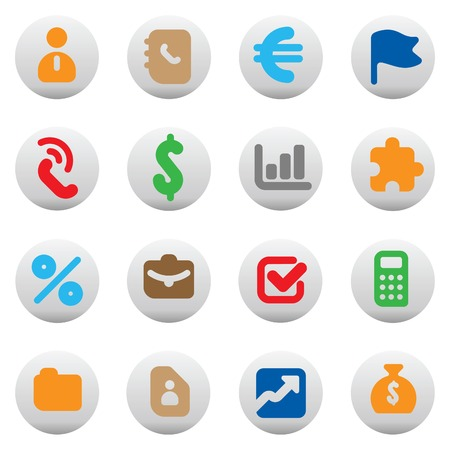 cash book: Set of icons for business. Vector illustration.