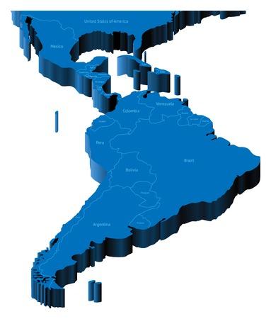 Carte de l'Amérique latine avec les frontières nationales et les noms de pays. Illustration vectorielle pseudo-3D. Vecteurs