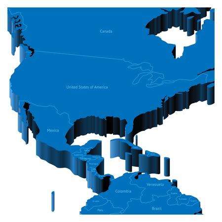mapa de venezuela: Mapa de Estados Unidos con las fronteras nacionales y los nombres de pa�ses. Ilustraci�n vectorial de pseudo-3d.
