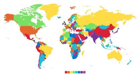 Worldmap in rainbow colors. Vector illustration. Vectores