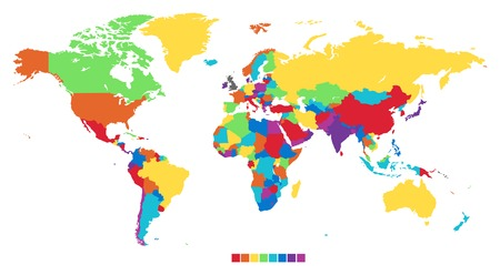 Worldmap in rainbow colors. Vector illustration.
