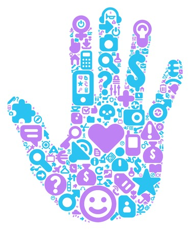 Human hand concept. Made of 100 vector icons set in blue and violet colors. Vector