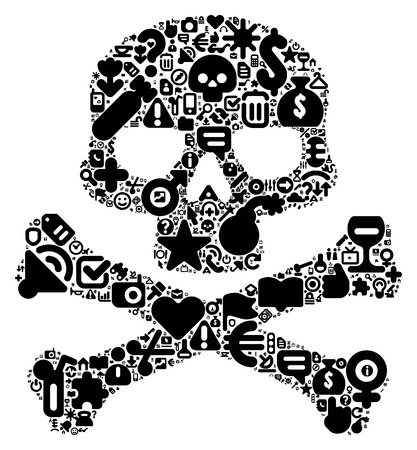 home video camera: Human skull concept. Made of 100 vector icons set in black color.
