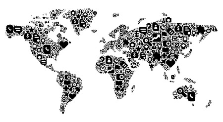 lady clock: World Map concept. Made of 100 vector icons set in black color.