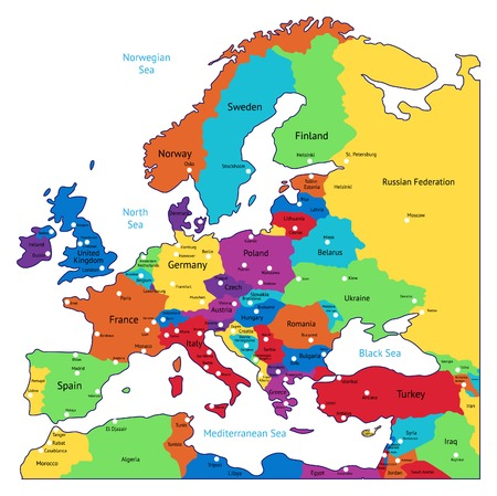 geographical locations: Multicolored map of Europe. Names, town marks and national borders are in separate layers. Vector illustration. Illustration