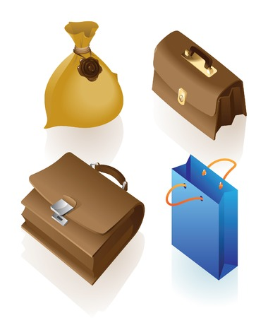 Isometric icon of various bags. Vector illustration. Vector