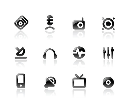 Perfect designer vector icons for media and sound. Main shape, highlights and reflection are in separate layers. Stock Vector - 6729297