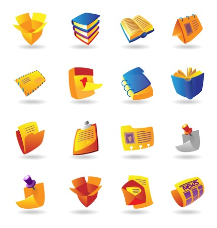 office stationery: Realistic colorful vector icons set for books, stationery and papers on white background
