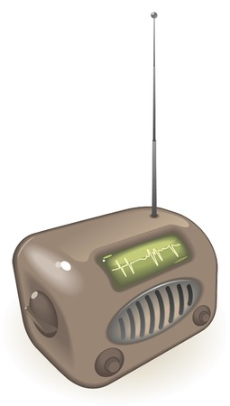 Old-fashioned radio with antenna. Vector illustration. Stock Vector - 6729352