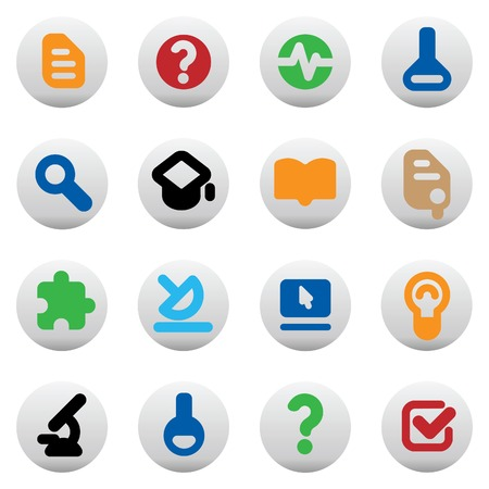 research education: Set of icons for science and education. Vector illustration. Illustration