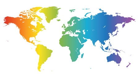 australia map: Multicolored high quality vector map of the World.