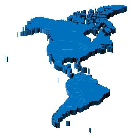 mapa peru: Mapa de Am�rica con las fronteras nacionales y los nombres de pa�ses. Ilustraci�n vectorial de pseudo-3d.