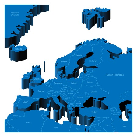 romania: Map of European Region with national borders and country names. Pseudo-3d vector illustration. Illustration