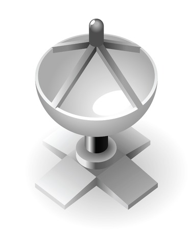 Dish-shaped antenna tower. Vector