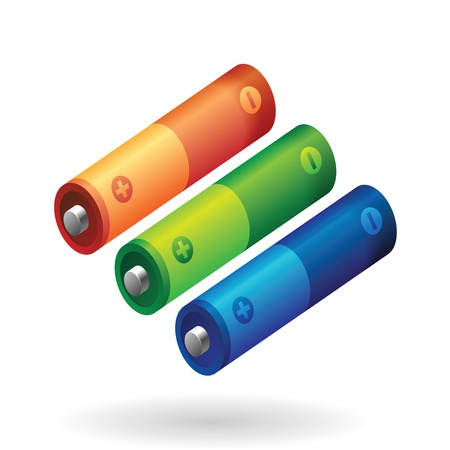polarity: AA battery in various colors.