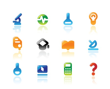 Perfect designer icons for science, research and education. Main shape, highlights and reflection are in separate layers. Stock Vector - 6834044