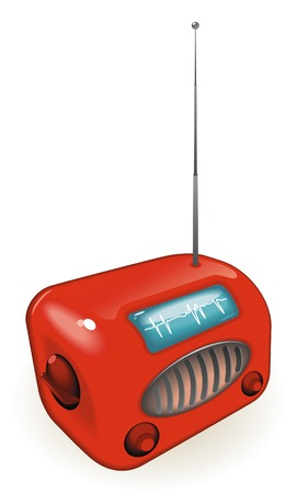 Old-fashioned radio with antenna.  Stock Vector - 6834049