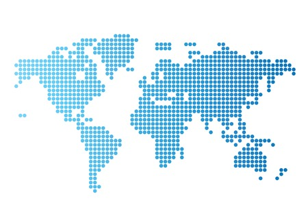 Abstract computer graphic World map of blue round dots. illustration.