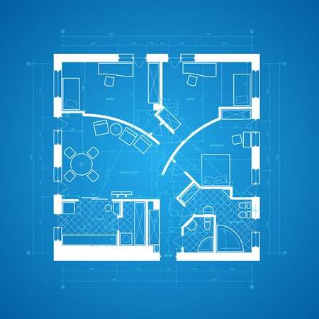 architect drawing: Abstract blueprint background in blue and white colors.  illustration. Illustration
