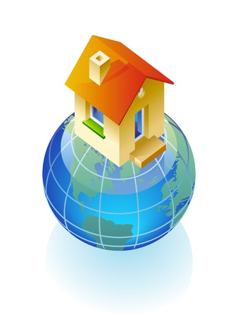immovable property: Concept of globe and house.  illustration.