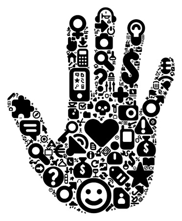 Human hand concept. Made of 100  icons set in black color. Vector