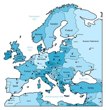 mapa europa: Mapa de Europa de luz de colores azules. Nombres, las marcas de la ciudad y las fronteras nacionales est�n en capas separadas. ilustraci�n.