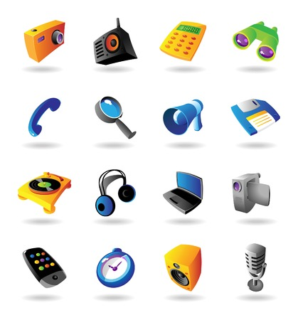 vcr: Realistic colorful  icons set for various devices on white background