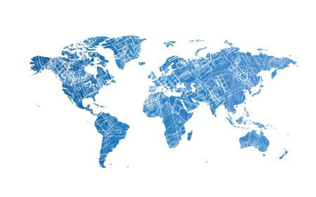 architect drawing: World map with texture of architectural blueprints,  concept.