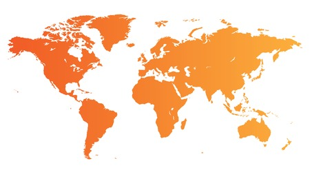 High quality orange  map of the World. Stock Vector - 7023269