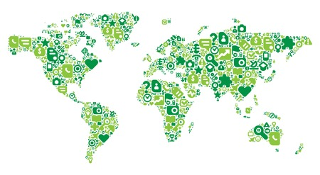home video camera: World Map concept. Made of 100  icons set in green colors. Illustration