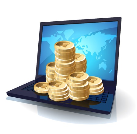 it business: Laptop with money, web and IT business concept. illustration.