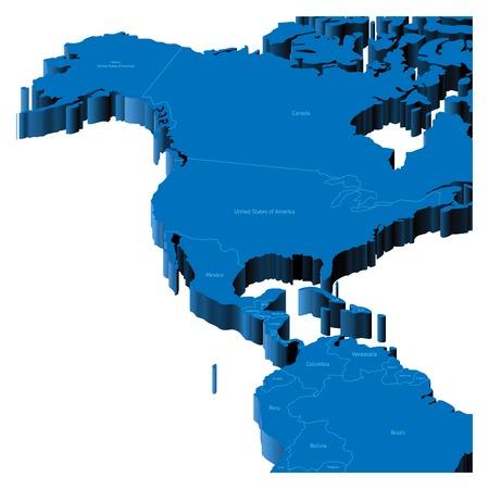 mapa del peru: Mapa de Estados Unidos, Alaska, Centroam�rica con las fronteras nacionales y los nombres de pa�ses. Ilustraci�n de pseudo-3d.