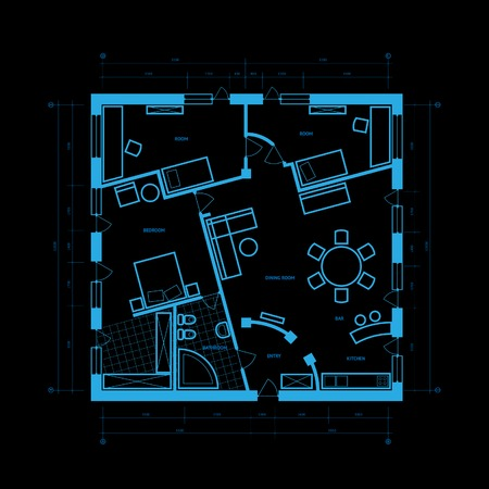 estate planning: Abstract blueprint background in blue colors. illustration. Illustration