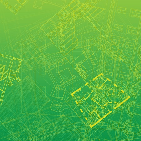 green construction: Abstract architectural background. illustration. Illustration