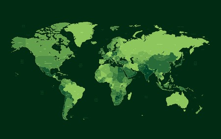 Detailed  World map of green colors. Names, town marks and national borders are in separate layers. Vector