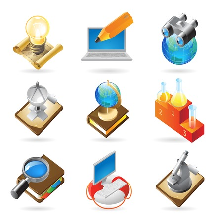 an article:  concept icons for science. Illustrations for document, article or website.