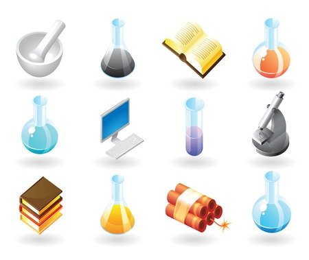 flask: High detailed realistic  icons for science, technology and education Illustration